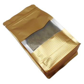 300Pcs/Lot Resealable Side Gusset Food Storage Pack Pouch Stand Up Gold with Lines Mylar Foil Clear Window Organ Bag Zipper Seal