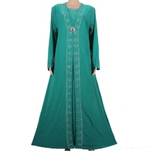 Islamic Clothing for Women Muslim Abaya Dress Beading Design Modest Jilbabs and Abayas Kaftan Dress Rose Green 55X1090-1