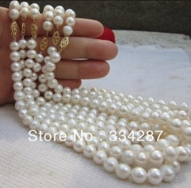 100% Selling Picture full wholesale 6PC 8-9MM Akoya AA+ white pearl necklace 18 INCH
