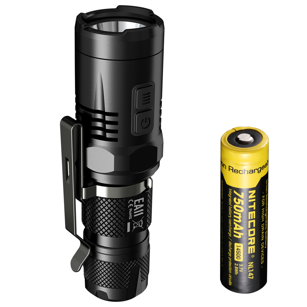 Фотография NITECORE EA11 U2 LED 900 Lm Lightest PalmSize Flashlight Aluminum Alloy Waterproof Torch with Rechargeable Battery Free Shipping