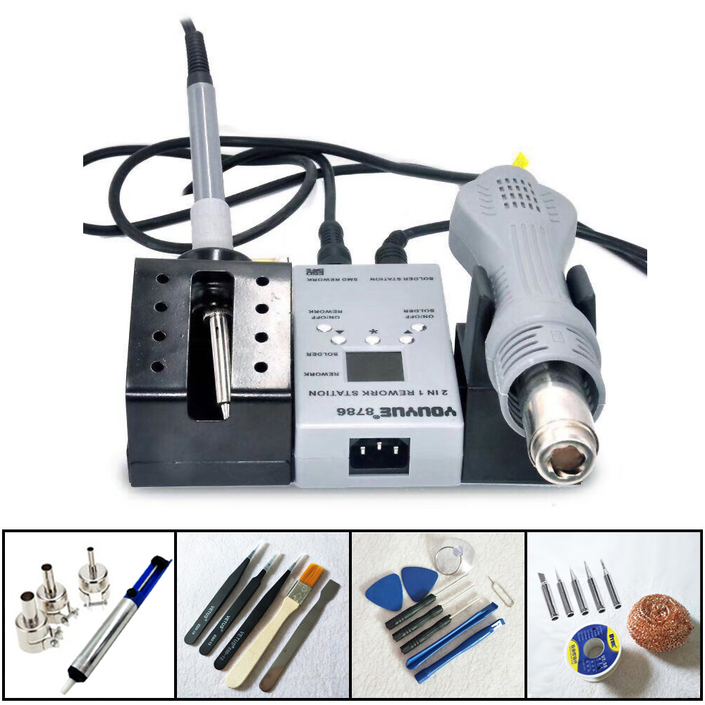 New YOUYUE 8786 110V 220V 2 in 1 Portable Hot Air Gun BGA Rework Solder iron Station Hot Air Blower Heat Gun + Many Gifts hot air heat element 4 in 1 kit 800w for ht r390 r392 r490 t300 r590 bga rework station 110v 220v authorized sales