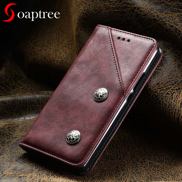 soaptree For Asus Zenfone 3 Max ZC520TL Case Flip Leather Wallet ASUS X008D Case Cover Vintage Plain Holster Phone Bags 5.2 inch