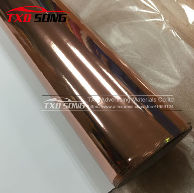 Bonne qualité 1.52x20 m/Roll Étanche UV Protégé rose or Miroir chrome Vinyle Wrap Fiche Film autocollant Decal Air bubbules