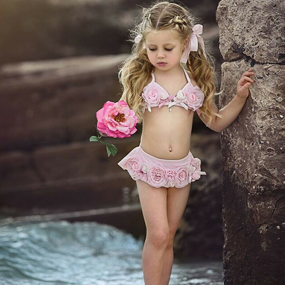 Infant Kids Baby Girls Bandage Bikini Set Swimwear Swimsuit Pricess 3D Floral Pearl Tankini Bathing Suit Pricess Beachwear