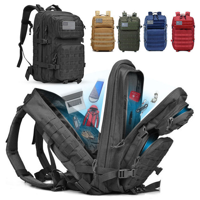 50L Capacity Military Tactical Backpack Men Army Large Bag Hiking Camping Rucksack Hunting Outdoor Waterproof Travel Backpack 1
