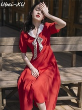 Ubei 2019 new Summer dress French retro girl temperament high waist slim fashion chiffon black/red long