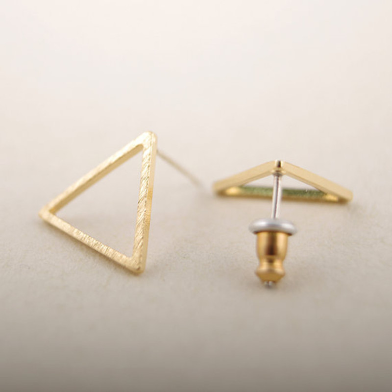2016 New Fashion Tiny Geometric Line Triangle Silver Earrings for Women Simple Cute Party Stud Earring ED008