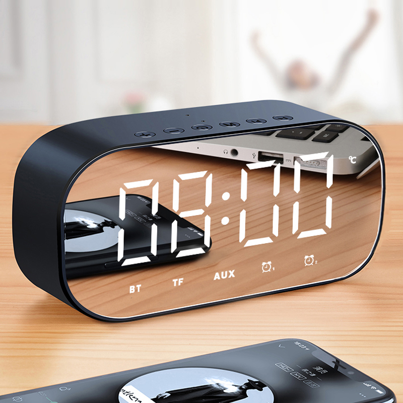 Bluetooth Speaker with FM Radio LED Mirror Alarm Clock Subwoofer Music Player Snooze Desktop Clock Wireless