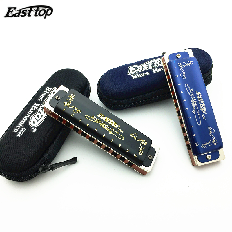 Easttop High Quality Harmonica Diatonic 10 Holes Blues Harp Paddy Key  Mouth Ogan Woodwind Music Instrument Black Or Blue Color