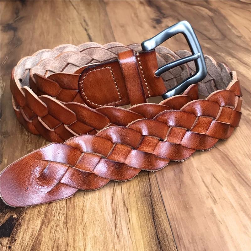 Cinturón trenzado hombres de lujo de cuero genuino hombres cinturón Ceinture Homme ancha correa de las mujeres Ceinture Femme cinturones para las mujeres Correa MBT0508