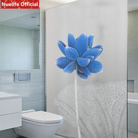 Chinese blue lotus pattern static glueless glass sticker office living room wardrobe sliding door opaque bathroom window film