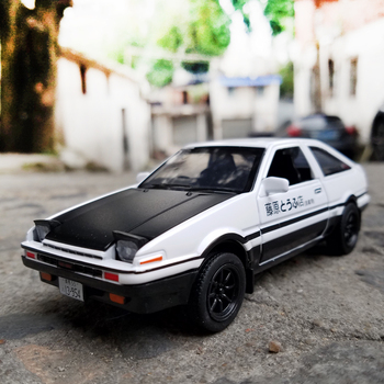 Initial D Toyota AE86 Alloy Metal Diecast Cars Model Inital Toy Car Vehicles RX7 Pull Back 1:28 Light For Children Boy Toys 180sx led ヘッド ライト