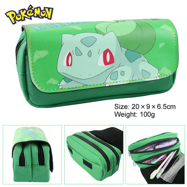 Pocket Monster pencil bulbasaur multifunction double zipper bag wallet cartoon pen large capacity