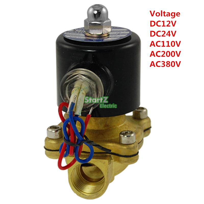 2way2position  3/8' Electric Solenoid Valve N/C Gas Water Air 2W160-10 19mm 2 way 2 position water gas electric solenoid valve dc12v 2w 20