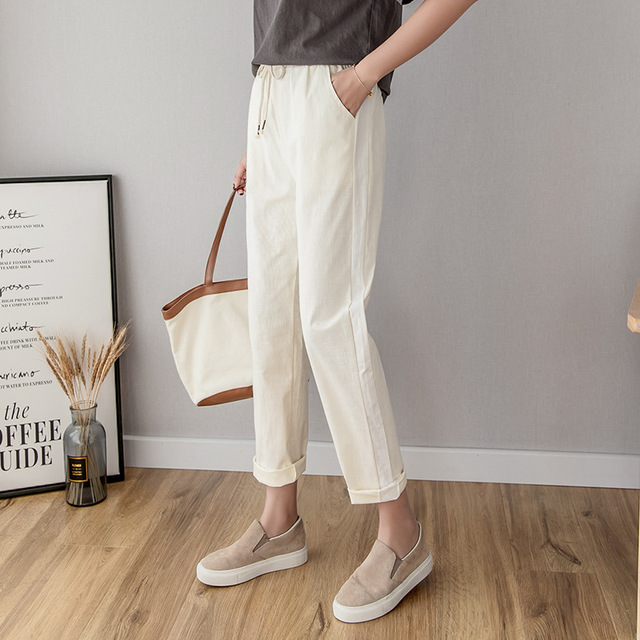 Cotton Linen Ankle Length Pants Women's Spring Summer Casual Trousers Pencil Casual Pants Striped Women's Trousers Green Pink 2
