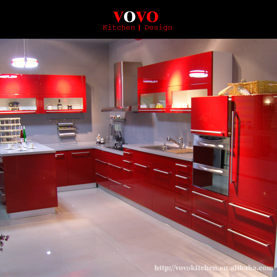 Kitchen Cabinet With Red Uv Base Cabinet-in Kitchen
