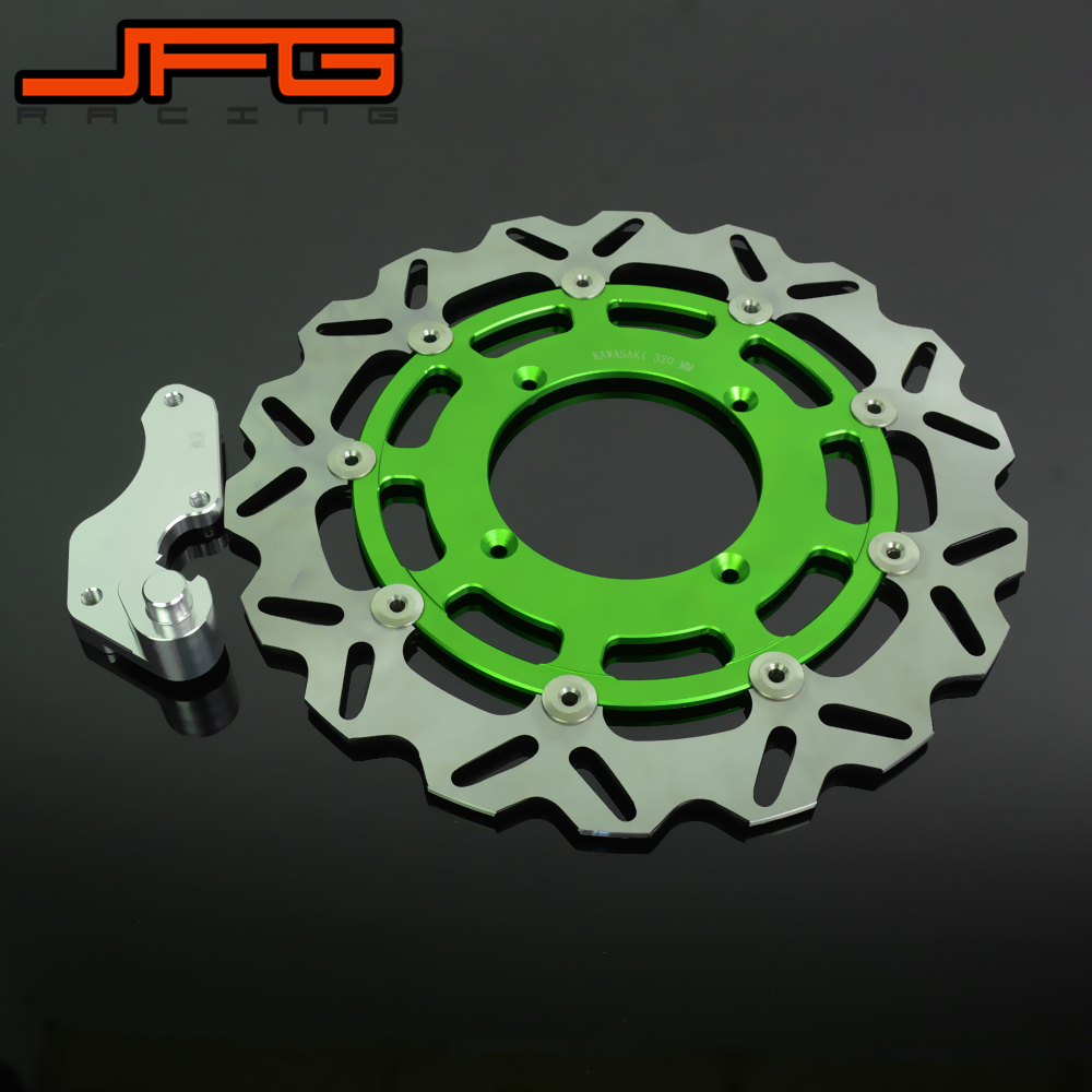 Motorcycle 320MM Flaoting Brake Disc With Bracket For KAWASAKI KX KXF KLX KX125 KX250 KX250F KX450F KLX450R Dirt Bike
