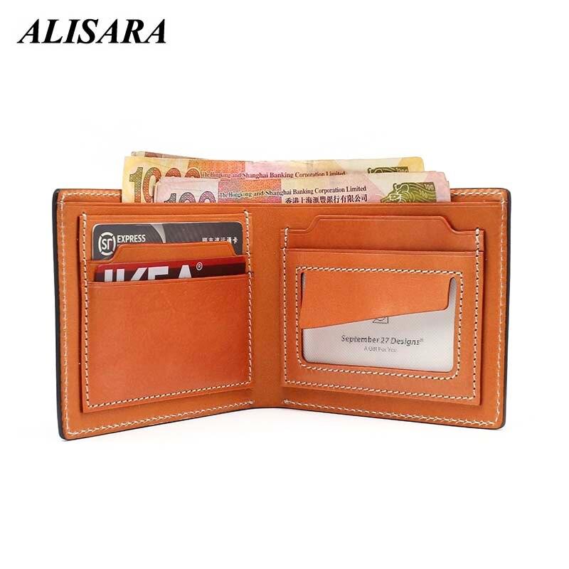 11783ac1b446 US $26.42 49% OFF|Alisara Men's Wallet Luxury Genuine Cowhide Leather Male  Simple Bifold Clutch Wallets Credit Card Case Slim Short Purses-in Wallets  ...