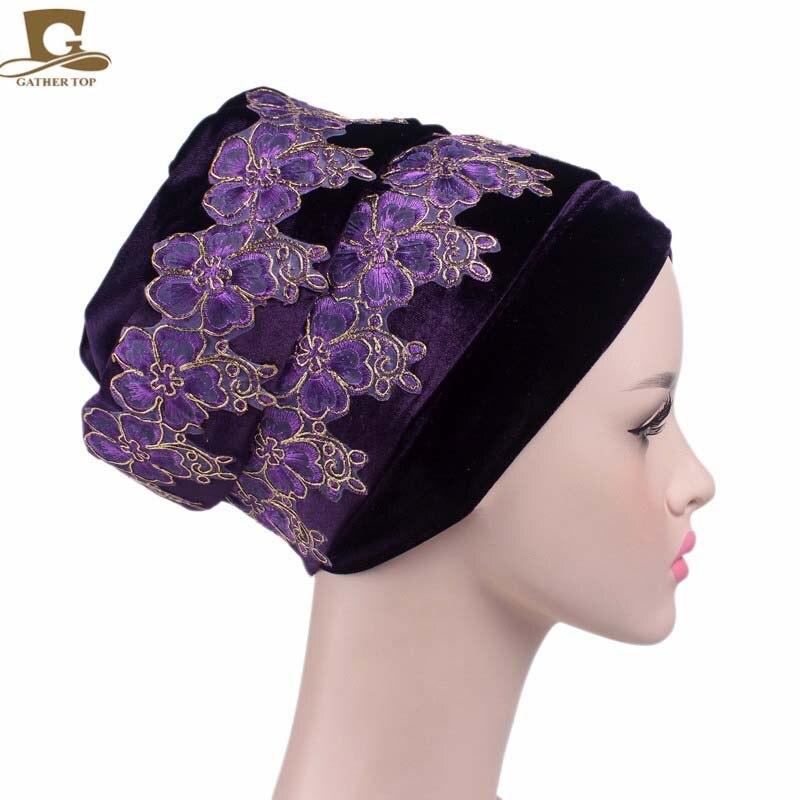 Nové módní ženy luxusní sametové Turban Klobouky 3D květinové výšivky Velvet Turban Klobouky extra dlouhá trubice hlava zábal šátek Turbante