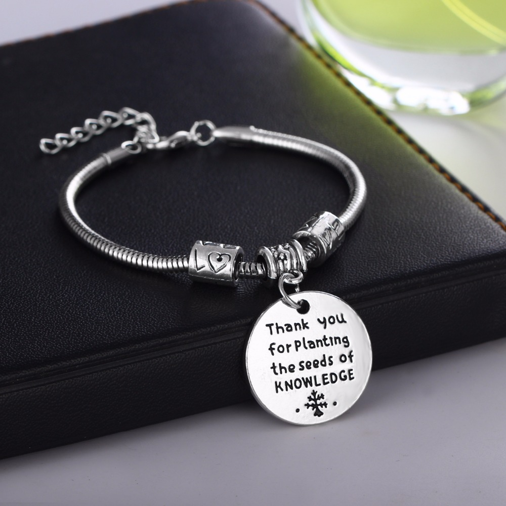 Teachers Appreciation Bracelets Jewelry Thank You For Planting The Seeds Of Knowledge Charm Teacher Gifts Teachers Day Presents