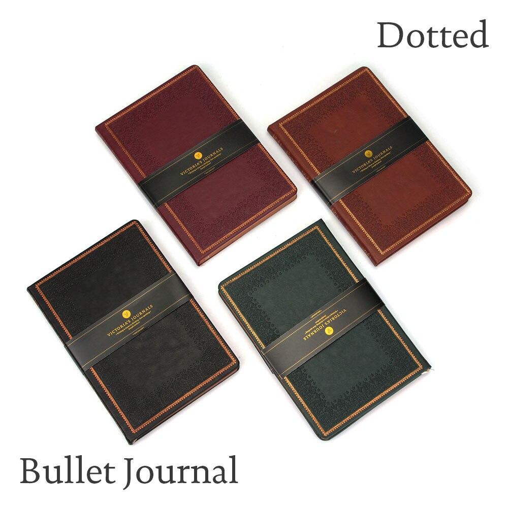Pointillé Couverture Rigide Bullet Journal Bujo A5 Portable Caderno Pontilhado Manuscrit En Simili-Cuir Vintage Voyage Planificateur Non Daté Journal