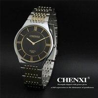 2017 Chenxi Watch Men Top Brand Luxury Super Slim Women Lover Watches Full Steel Gold Quartz-watch Clock Wristwatch reloj hombre