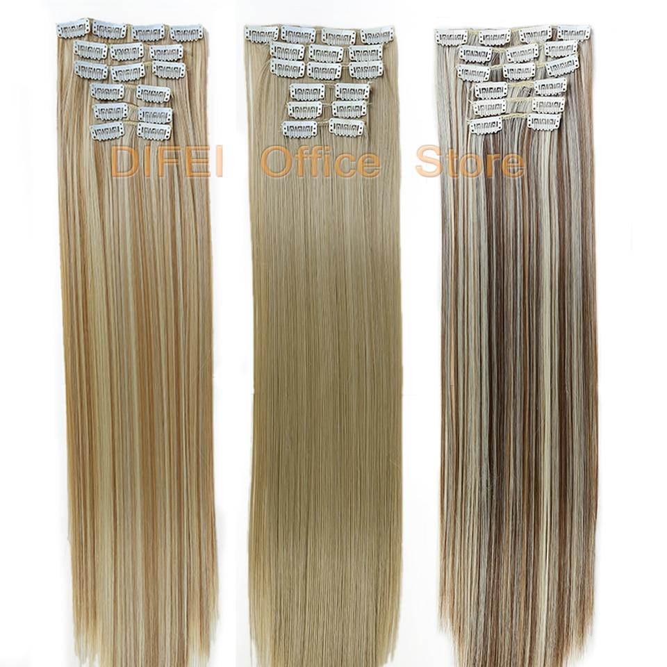 Накладные волосы DIFEI, 60 см, 6 шт./компл., 16 клипс, длинные золотистые и коричневые волосы, 16 париков, синтетические волосы
