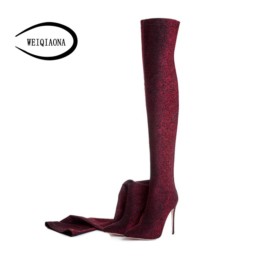 WEIQIAONA 12cm Sexy  Glitter effect elastic fabric Pointed toe Women