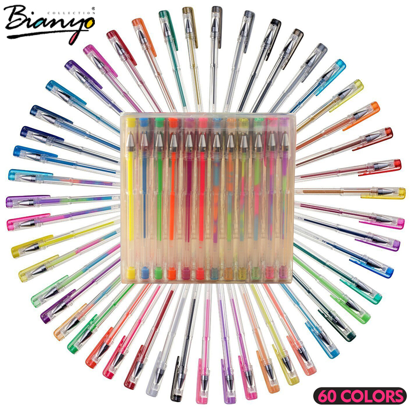 Biaoyo 60 Color Highlighter Gel Lnk Pen for Art Drawing Design, Colorful Ballpoint Pen for School Stationery Art Office Working sharpie gel highlighter green