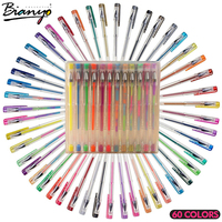 Bianyo 60 Colors Gel Pens Different Metallic Highlighter Pen Set For Student Drawing Painting Stationery Kids