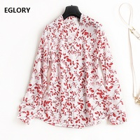 100 National Silk Shirts New 2018 Spring Summer Tops Office Ladies Red Flower Print Pearl Bead