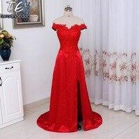 Off the Shoulder Dekolt Hot Red Elastycznej Satyny Suknia Sexy Side Szczelina Aplikacja Lace-Line Suknia Formalna