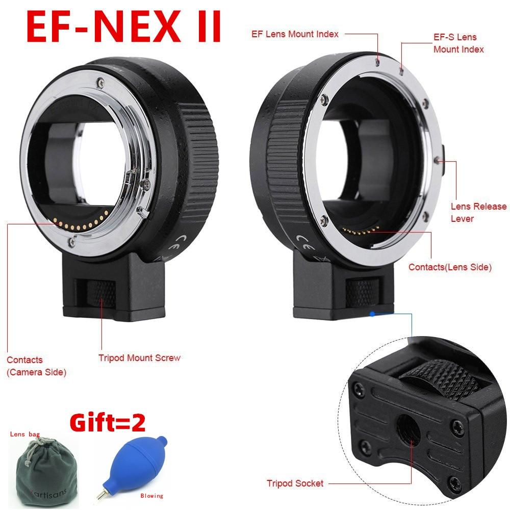 Bague d'adaptation automatique AF EF-NEX II pour objectif Canon EF EF-S pour sony NEX E Mount 3N 5N 5R A7 A7R A7S A7II A5000 A6300