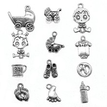 15pcs Baby Charm For Jewelry Making Silver Color Baby Carriage Charm Pendants For Bracelets Cute Baby Feet Charm cheap Taliyah Zinc Alloy Other Fashion Metal Vintage Charms
