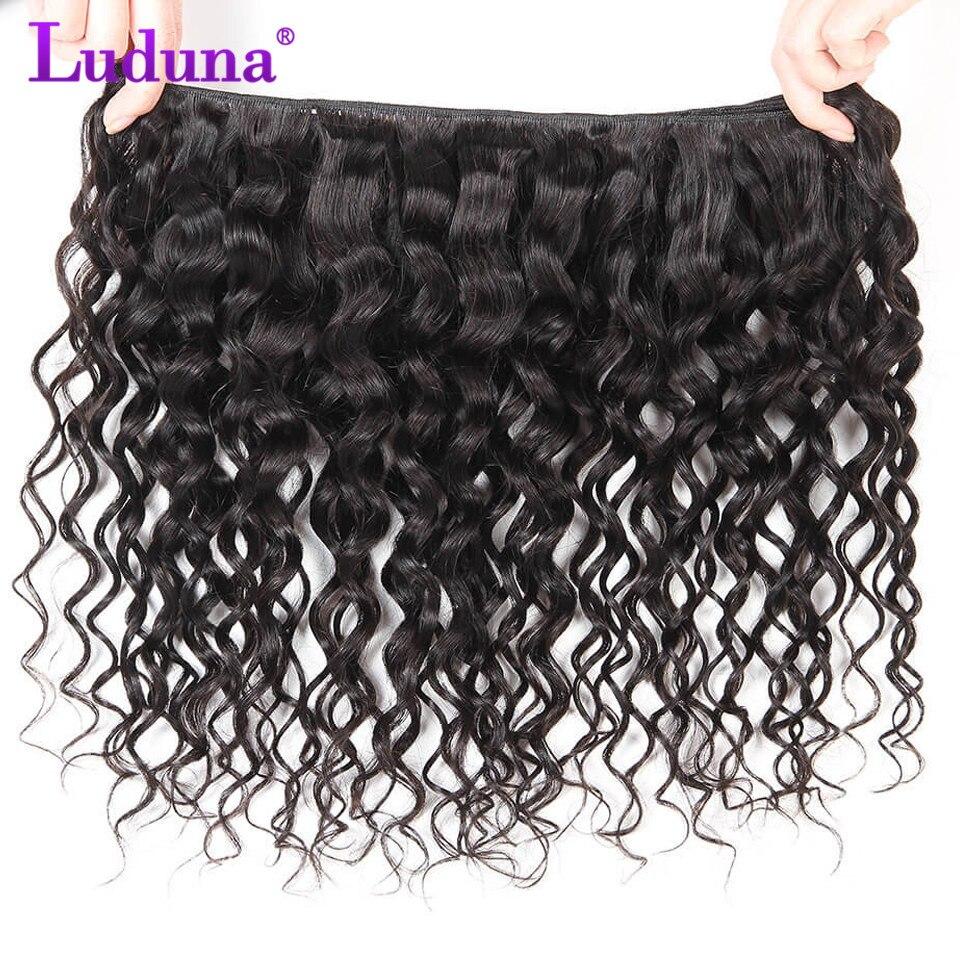 Luduna Воды Волна перуанской пучки волос с закрытием 3 Связки человеческих волос пучки с закрытием 4 х 4 кружева закрытия Волосы remy 4 шт.