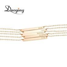 DUOYING Marca Collar para Las Mujeres 35*6mm de Oro Bar Personalizado Grabado Nombre Collar Collar Inicial Personalizada