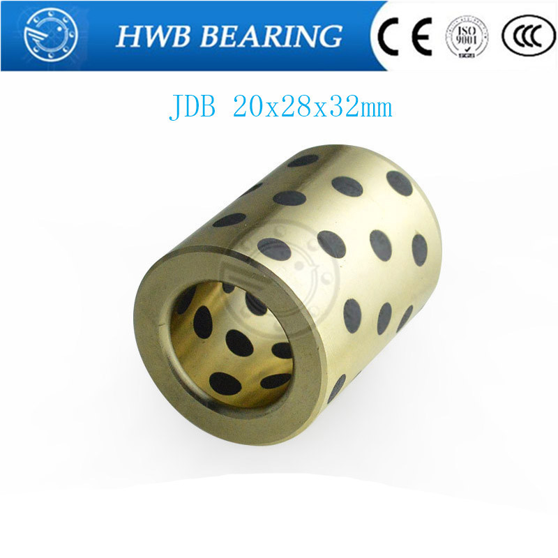 linear graphite copper set bearing copper bushing oil self-lubricating bearing JDB202832 20x28x32mm jdb 406080 copper sleeve the same size of lm12 linear solid inlay graphite self lubricating bearing