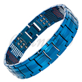Channah 2017 Titanium Bracelet For Men 4in1 Magnets Negative Ions Germanium Far Infra Red Shiny Blue Bangle Free Shipping Charm