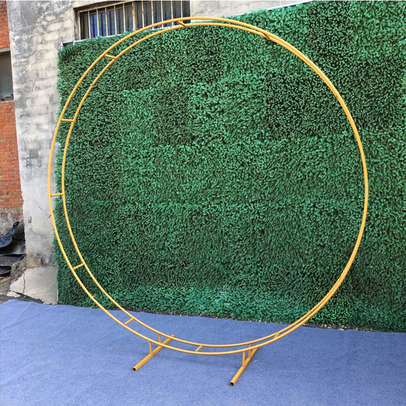Outdoor Wedding Party Backdrop Iron Arch Stand Props Double Round Ring Iron Arch Frame Decorative Flower Arch Door Decoration