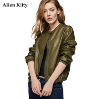 Alien Kitty 2017 New PU Leather Baseball Short Long Sleeve Woman Jacket Casual Loose Solid Color