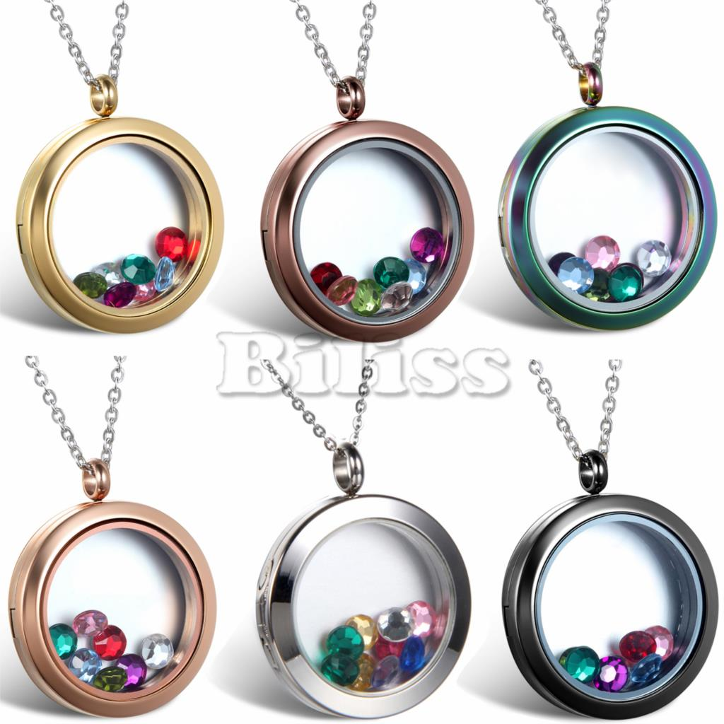 Multi Colored Crystal Floating Locket Memory Living Pendant Necklace ...