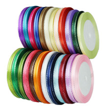 (25 yards/roll) 6mm Silver Edged satin ribbon high quality gift packaging ribbons