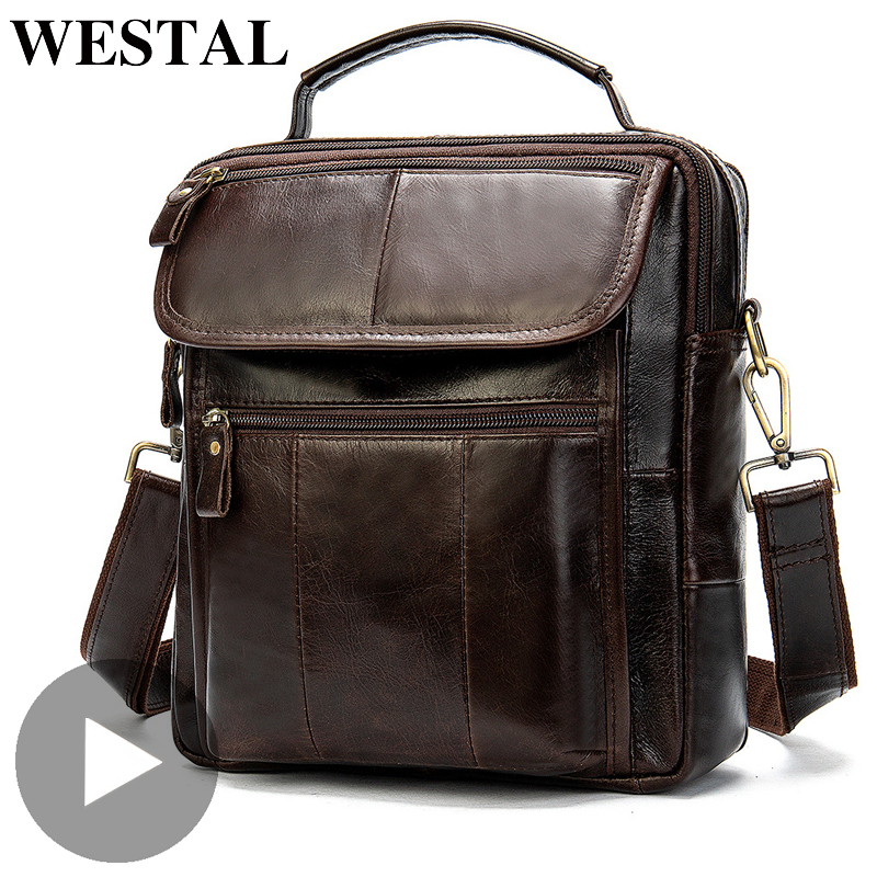 Westal Crazy Horse Shoulder Messenger Women Men Bag Genuine Leather Office Business Work Briefcase For Small Handbag Male Female