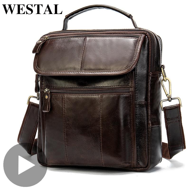 Westal Crazy Horse Shoulder Messenger Women Men Bag Genuine Leather Office Business Work Briefcase For Small Handbag Male Female