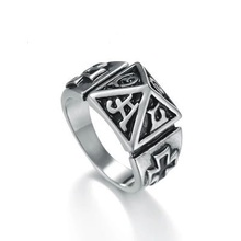 Personality punk retro titanium steel ring men's fashion five-pointed star eating ring rock style accessories ring wholesale