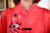 Súper ventas rojo estilo chino mujeres pijamas de seda Set bordado botón traje hechos a mano flor ropa de dormir de 2 unids sml XL WP001