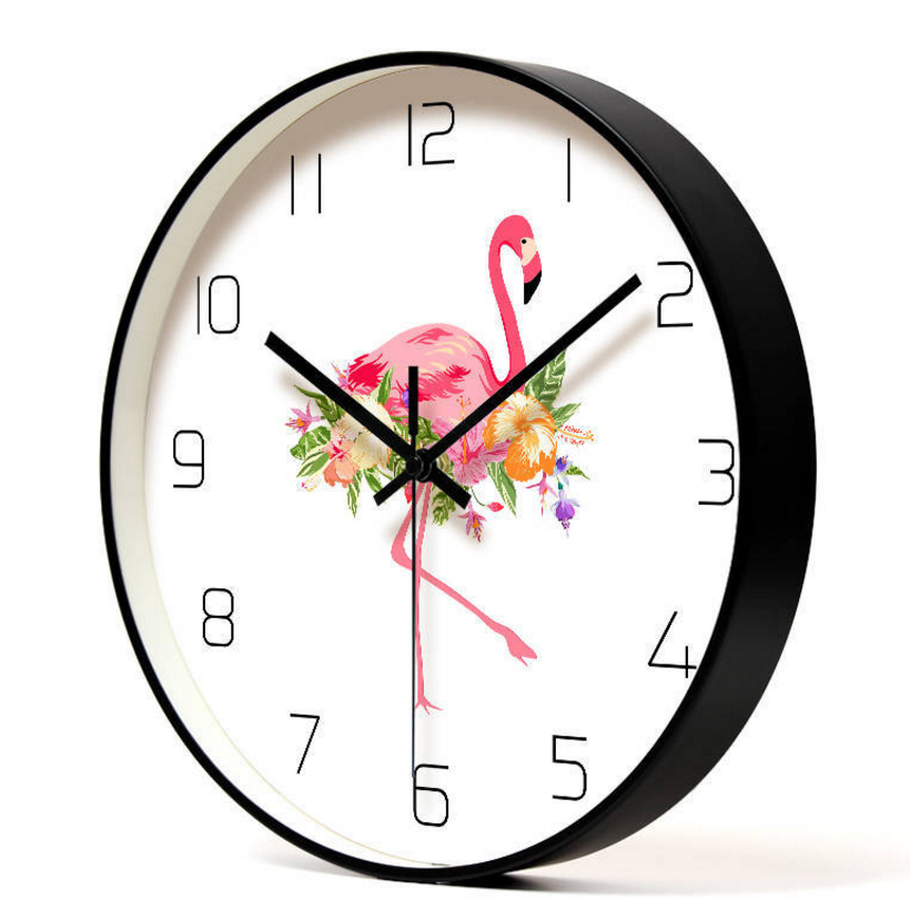 12in Silent wall Clock Bedroom Minimalist Decorative Round Wall Flock Creative Flamingo Living Room Decoration Wall Clock D40