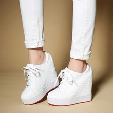 Women Sneakers Fashion Women Height Increasing Lace-Up Wedge