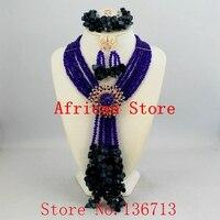 Фиолетовый стильный Крест фабричного производства нигерийские Свадебные африканские бусы ювелирный набор кристалл самая популярная афри