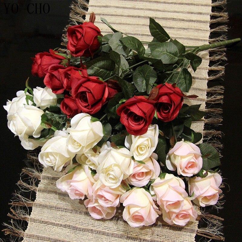 YO CHO [3 couleurs] (3 pcs/Lot) fleurs artificielles rose fraîche vraie touche fleurs roses décorations pour la maison de mariage ou d'anniversaire